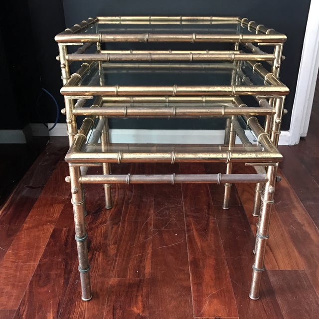 Vintage Faux Bamboo Brass Nesting Tables - Set of 3 - Image 4 of 9