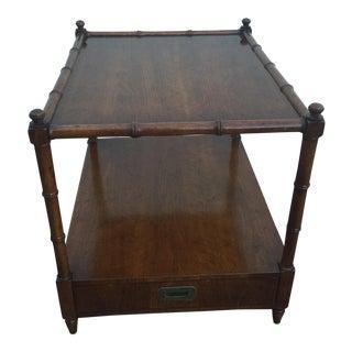 Vintage Henredon Wood Faux Bamboo End Table/Nightstand