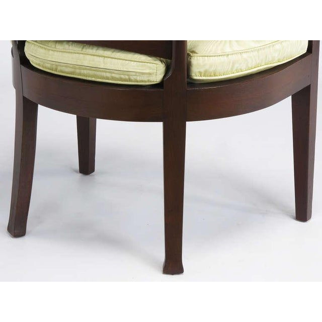 Pair Bert England For Baker Mahogany Barrel Back Arm Chairs - Image 9 of 10