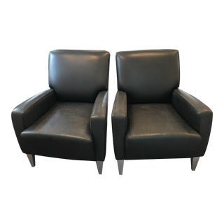 Black Leather Club Chairs - A Pair
