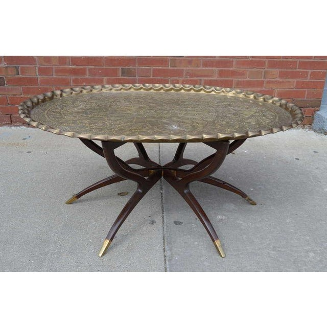 Exceptional Large Vintage Brass Tray Coffee Table On
