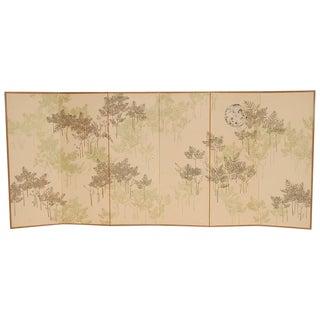 Six-Panel Botanical Silkscreen Room Divider