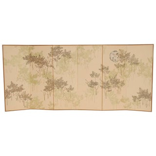 Six-Panel Botanical Silkscreen Room Divider