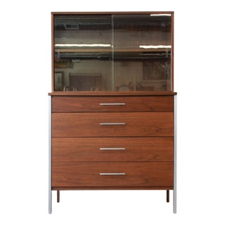 Paul McCobb for Calvin Four-Drawer Chest of Drawers with Glass Front Hutch