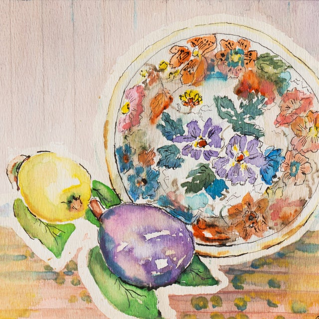 Plate & Fruit by Vera Indenbaum, 1984 Painting - Image 2 of 5