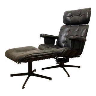 Mid-Century Danish Modern Homecrest Bottemiller Lounge Chair B99T & Ottoman B610