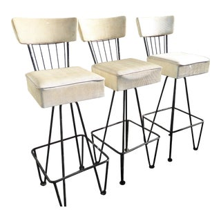 Mid Century Modern Frederick Weinberg White Swivel Bar Stools - Set of 3