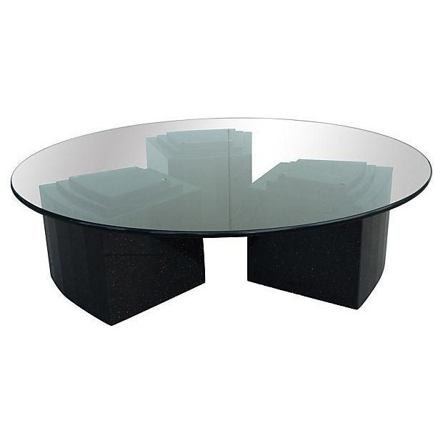 Vintage Glass Coffee Tables: Vintage 80s Glass Coffee Table With Granite Bases