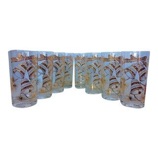 Culver Gold Christmas Bells Glassware - Set of 8