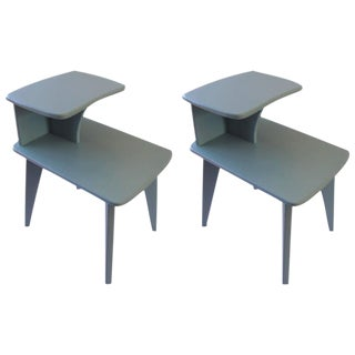 Retro Duck Blue Side Tables - A Pair