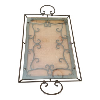 Scrolled Metal & Floating Glass Tray