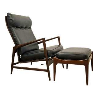 IB Kofod Larsen Selig Recliner Lounge Chair/Ottoman