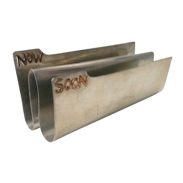 Vintage Silver Copper Soon & Now Letter Holder - Image 1 of 6