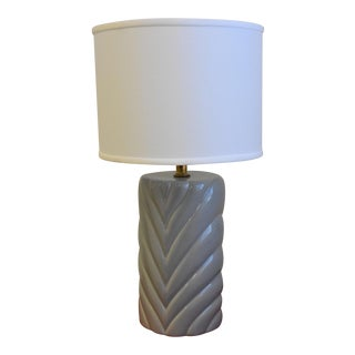 Vintage Gray Ceramic Lamp & White Linen Shade