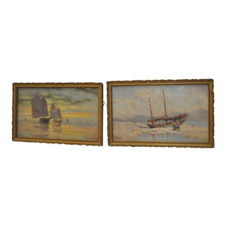 Early 20th Century Maritime Paintings by Thomas G. Purvis - a Pair