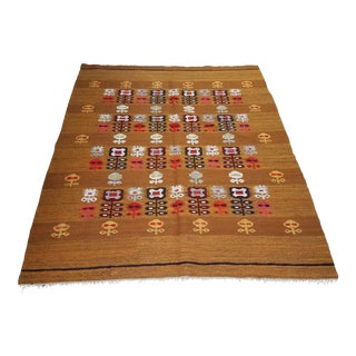 Handmade Rollakan Kelim Rug - 4′1″ × 6′4″