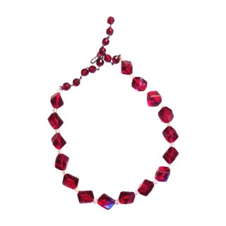 1960s Ruby Red Faceted Beaded Necklace