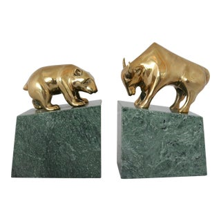 Contemporary Brass Bull & Bear on Marble Bookends