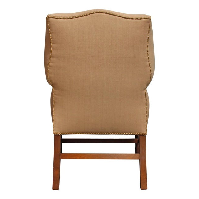 Image of Vintage Linen Wingback Chair