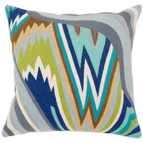 Embroidered Wave Pillows - A Pair - Image 2 of 2