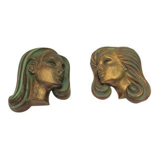 1960's German Ceramic Ladies Heads - A Pair