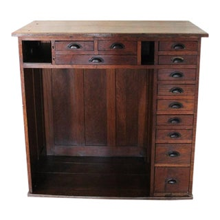 Vintage Oakwood Jeweler's Cabinet - Storage Unit Metal Hardware