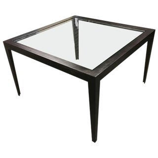 Glass & Blackened Metal Side Tables - A Pair