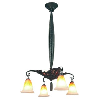 French Wrought Iron Chandelier with Mica Inserts and Art Glass Shades