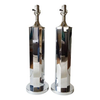 Vintage Chrome Octagonal Table Lamps - A Pair