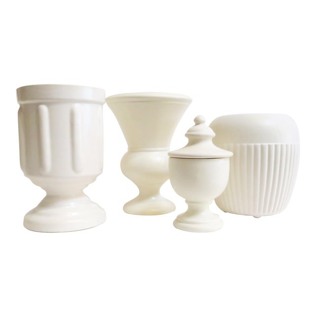 White Ceramic Vessels- Set of 4 - Image 1 of 5