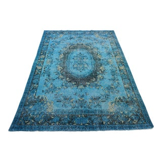 "Turquoise Colour Turkish Overdyed Rug - 5'10"" X 9'10"""