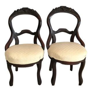 Ca. 1850 Louis XV Style Balloon Back Chairs - A Pair