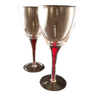 Red Drip Stem Wine Glasses - A Pair