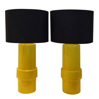 Pair of High Gloss Canary Yellow Modern Ceramic Cylinder Lamps