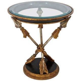 19th C Style Round Occasional Table With Crossed-Arrow Motif