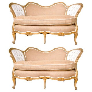 Carved Louis XV Style Canape-Settees - Pair