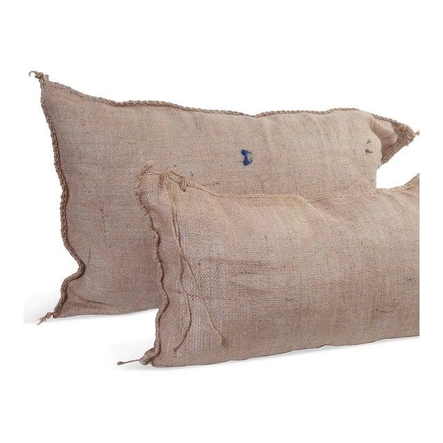 Burlap Pillows IV - A Pair - Image 2 of 2