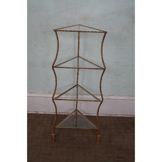 vintage italian gilt metal rope tassel etagere chairish. Black Bedroom Furniture Sets. Home Design Ideas