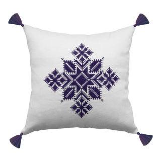 Moroccan Purple & White Tasseled Najma Pillow
