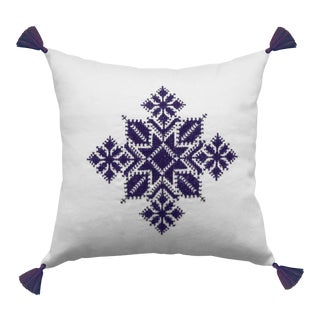 Moroccan Purple & White Tasseled Najma Pillow
