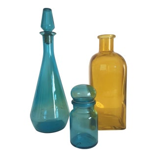Vintage Mid-Century Aqua & Yellow Glass Bottles - Set of 3