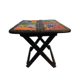 African Wood Folding Accent Table Brass/Beads