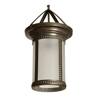Antique English Hanging Bronze and Frosted Glass Hall Lantern