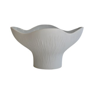 White Striated Bisqueware Bowl