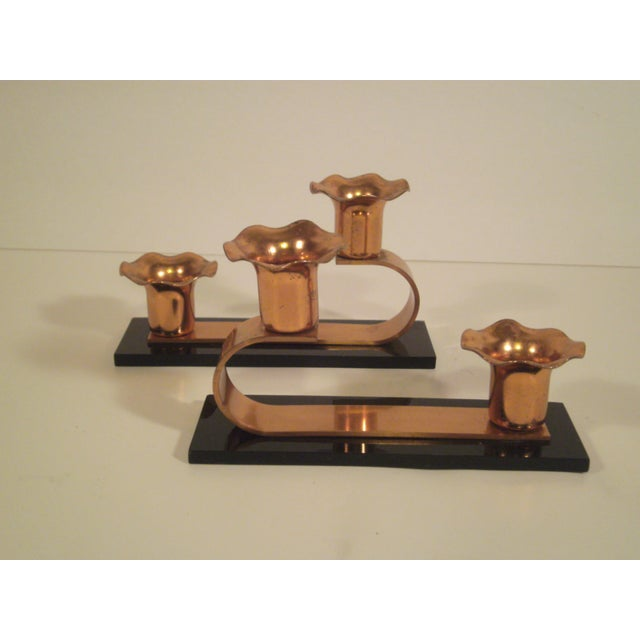 Image of Vintage Copper & Plexiglass Candle Holders - Pair