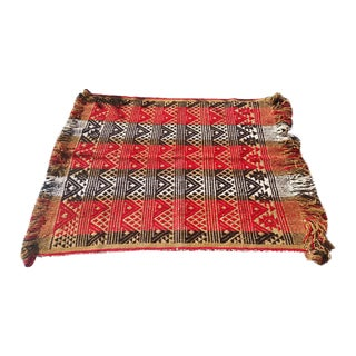 Vintage Woven Wool Rug or Coverlet