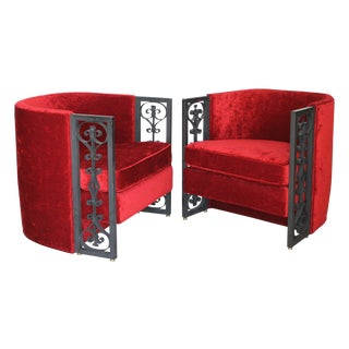 Wrought Iron and Red Velvet Club Chairs - Pair