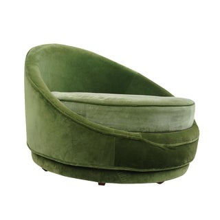 Milo Baughman Emerald Green Swivel Loveseat