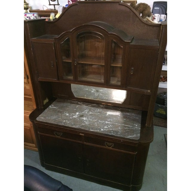 Antique marble top dry sink china cabinet chairish for Antique stone sinks for sale