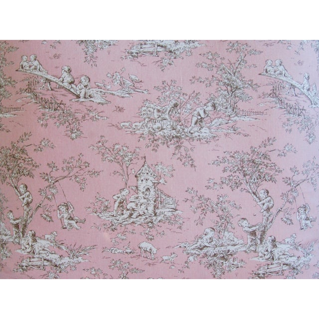 Desinger French Pink Toile & Velvet Pillows - Pair - Image 6 of 11